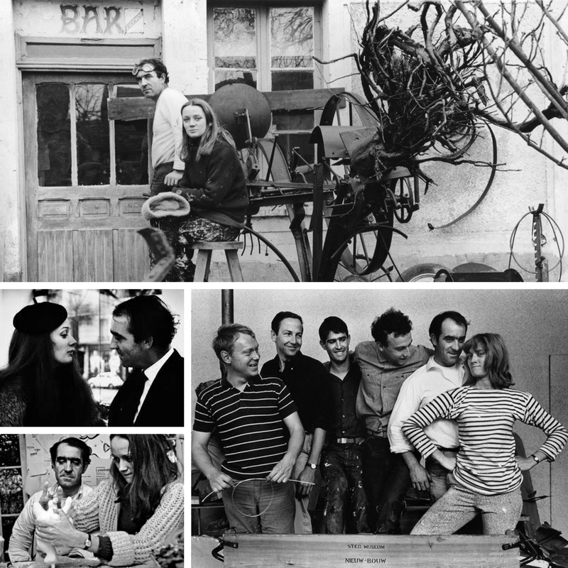 Clockwise from bottom left: with a group of male artists (Olov Ultvedt, Robert Rauschenberg, Martial Raysse, Daniel Spoerri, and Jean Tinguely) 1962, Saint Phalle works on a Nana while Tinguely watches 1966, Saint Phalle and Tinguely 1960s, Saint Phalle and Tinguely 1963