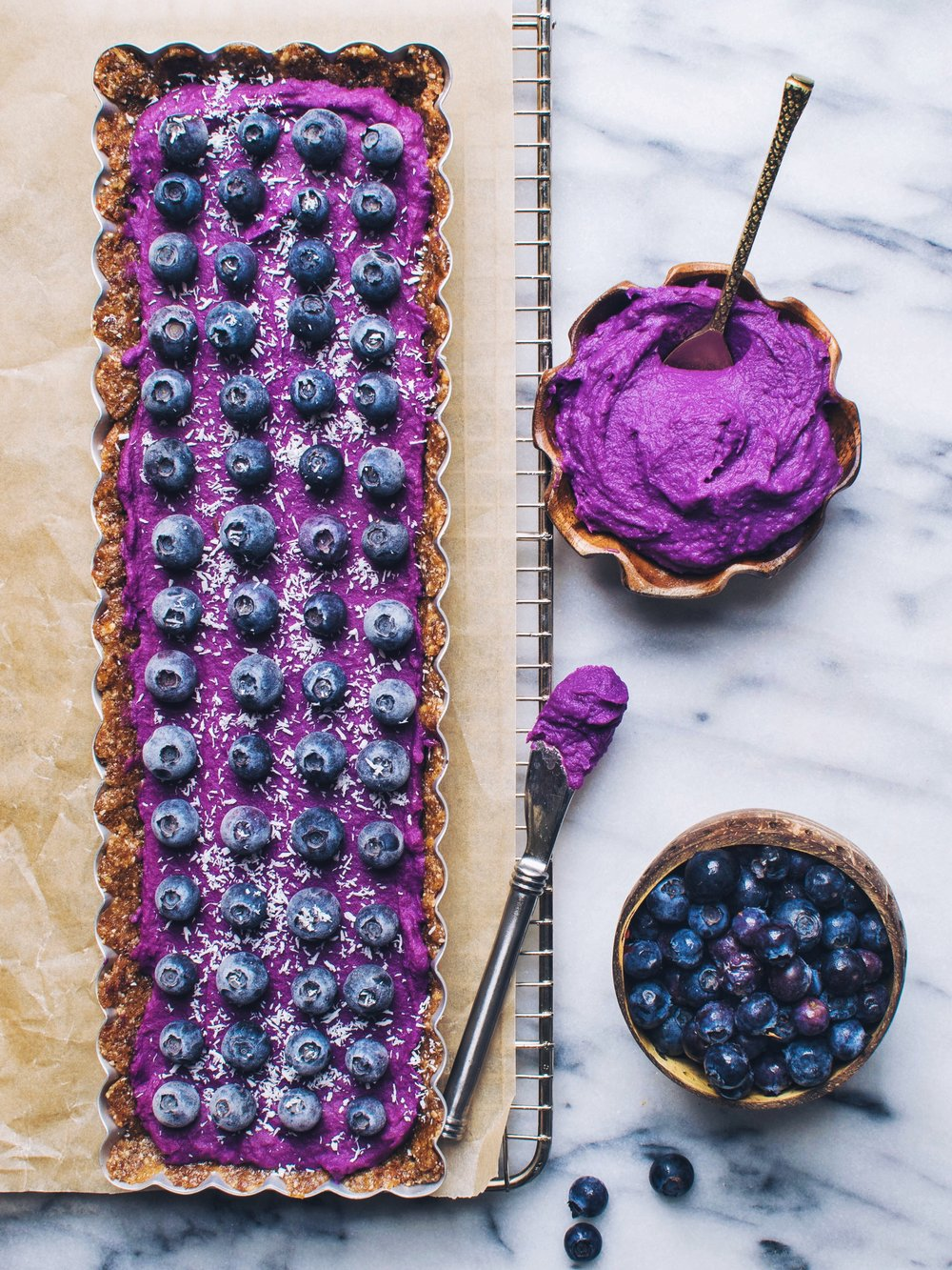 vegan, gluten-free purple sweet potato tart