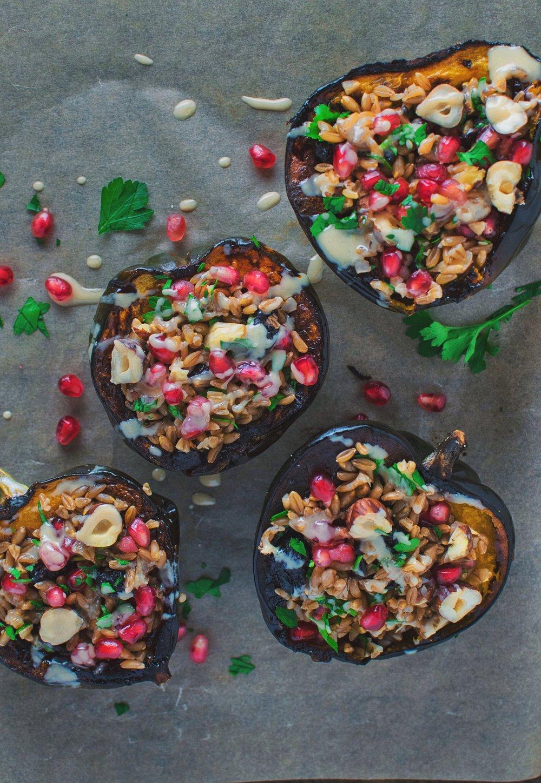 Mediterranean Stuffed Acorn Squash - Vegan