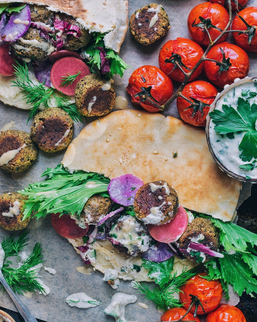 Tempeh & Walnut Falafel withVegan Tzatziki - V, GF