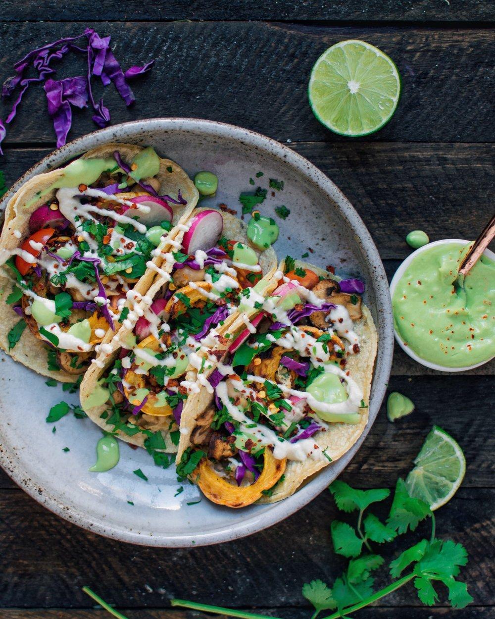 Veggie Tacos with Sour Cream & Avocado Mayo - V, GF
