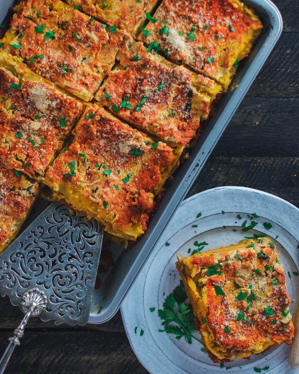 Mushroom & Butternut Squash Lasagna with Tofu Ricotta - V