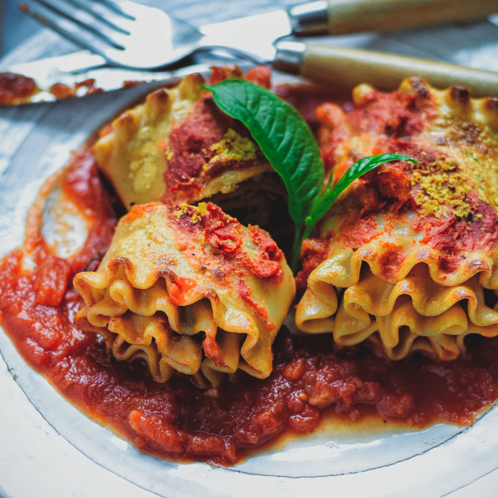 Lasagna Rollups with Cashew Cheese - V, GF