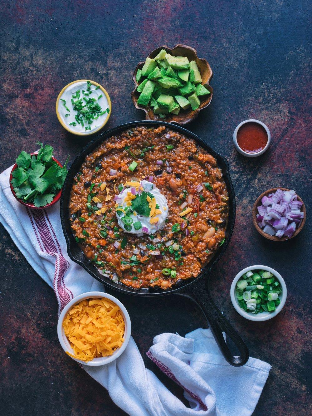 Hearty Lentil &Quinoa Chili - Vegan, Gluten-Free