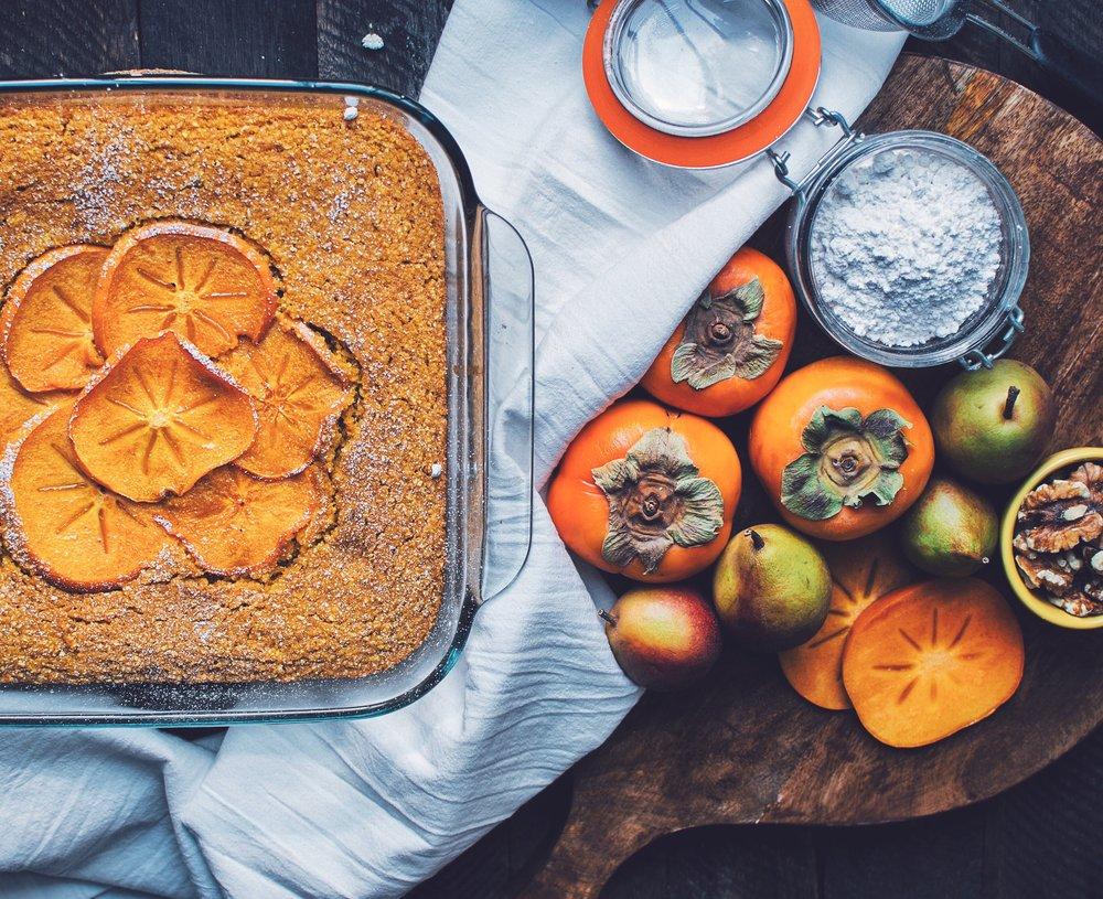 Pumpkin Persimmon Cornbread - V, GF