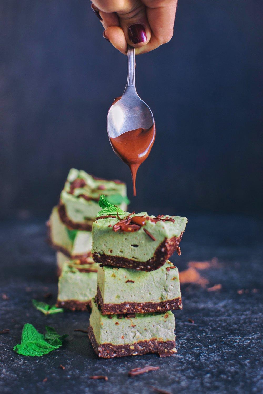 Raw Vegan Mint Chocolate Chip Cheesecake Bars - RV, GF