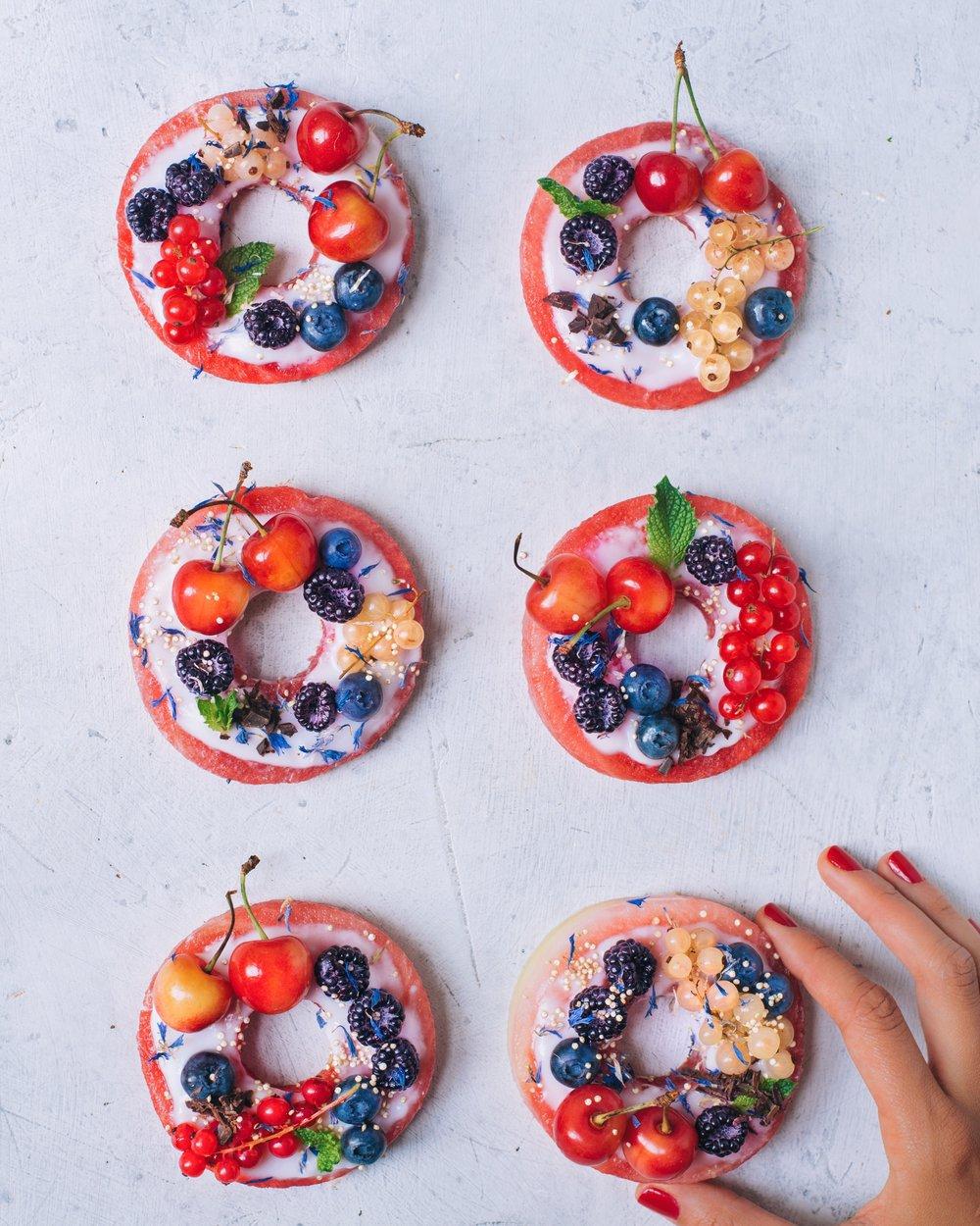 Watermelon Donuts - Vegan, Gluten-Free, Paleo