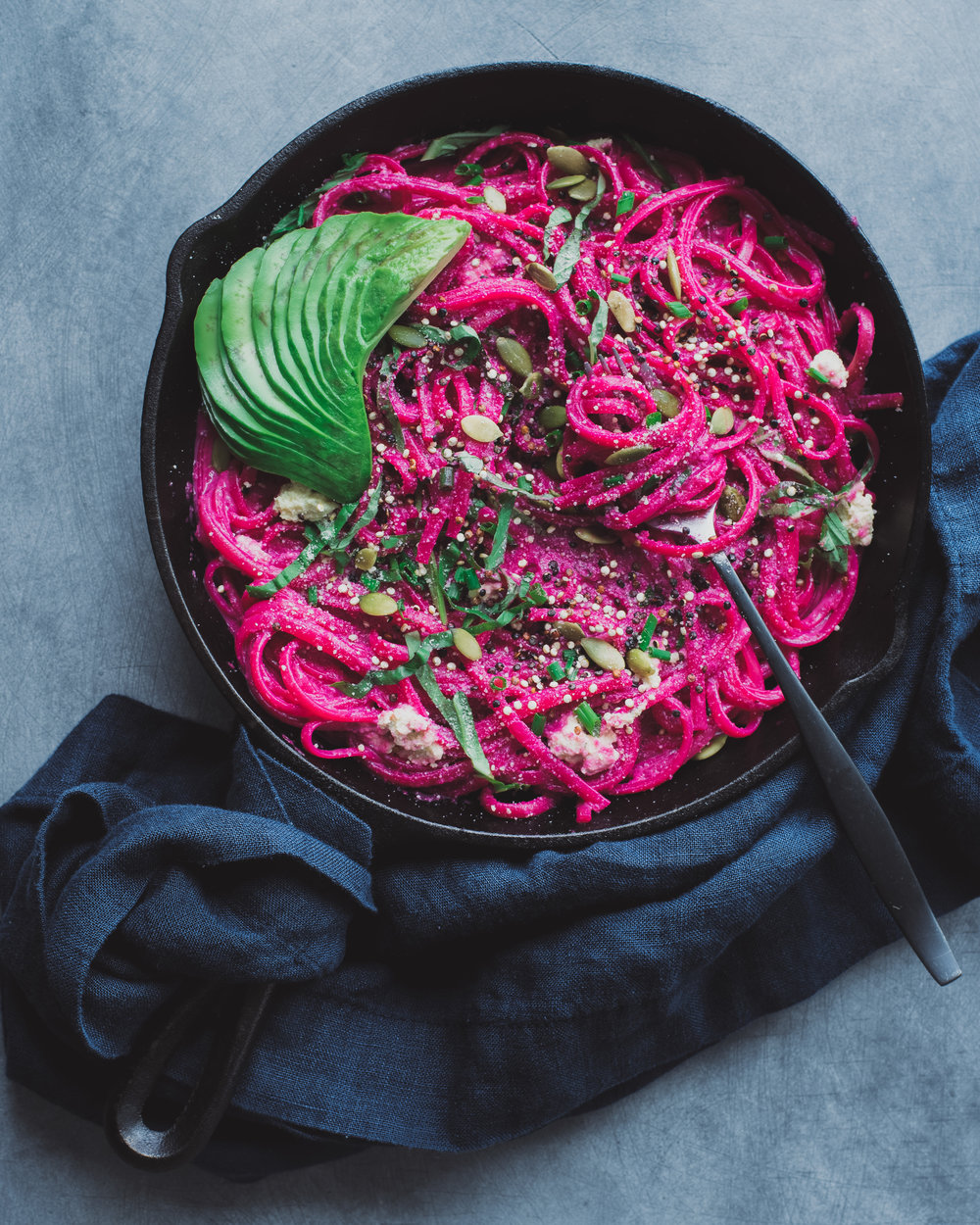 Beet Alfredo with Lemon-Basil Ricotta - V