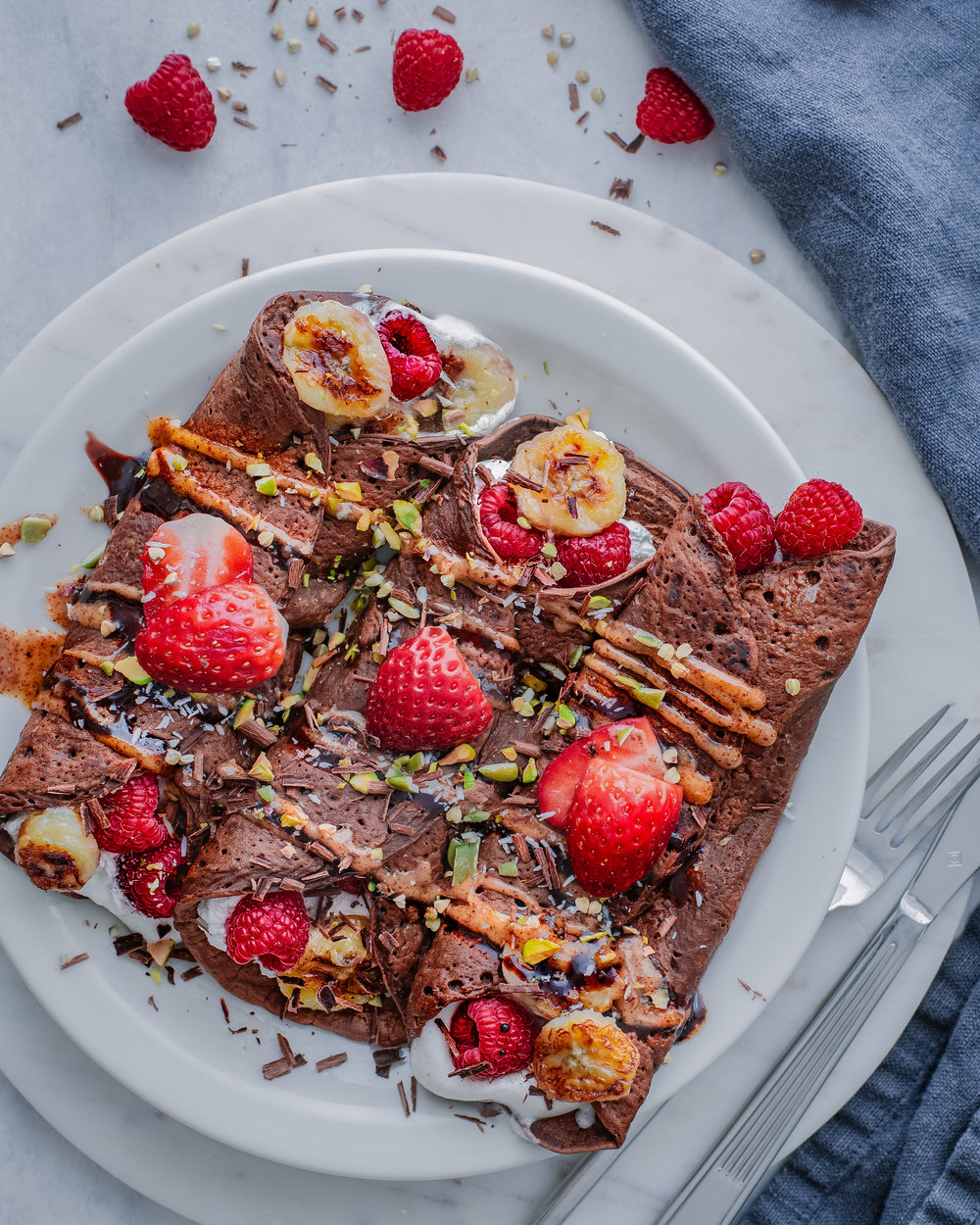 Chocolate Crepes with Almond Butter Sauce - V