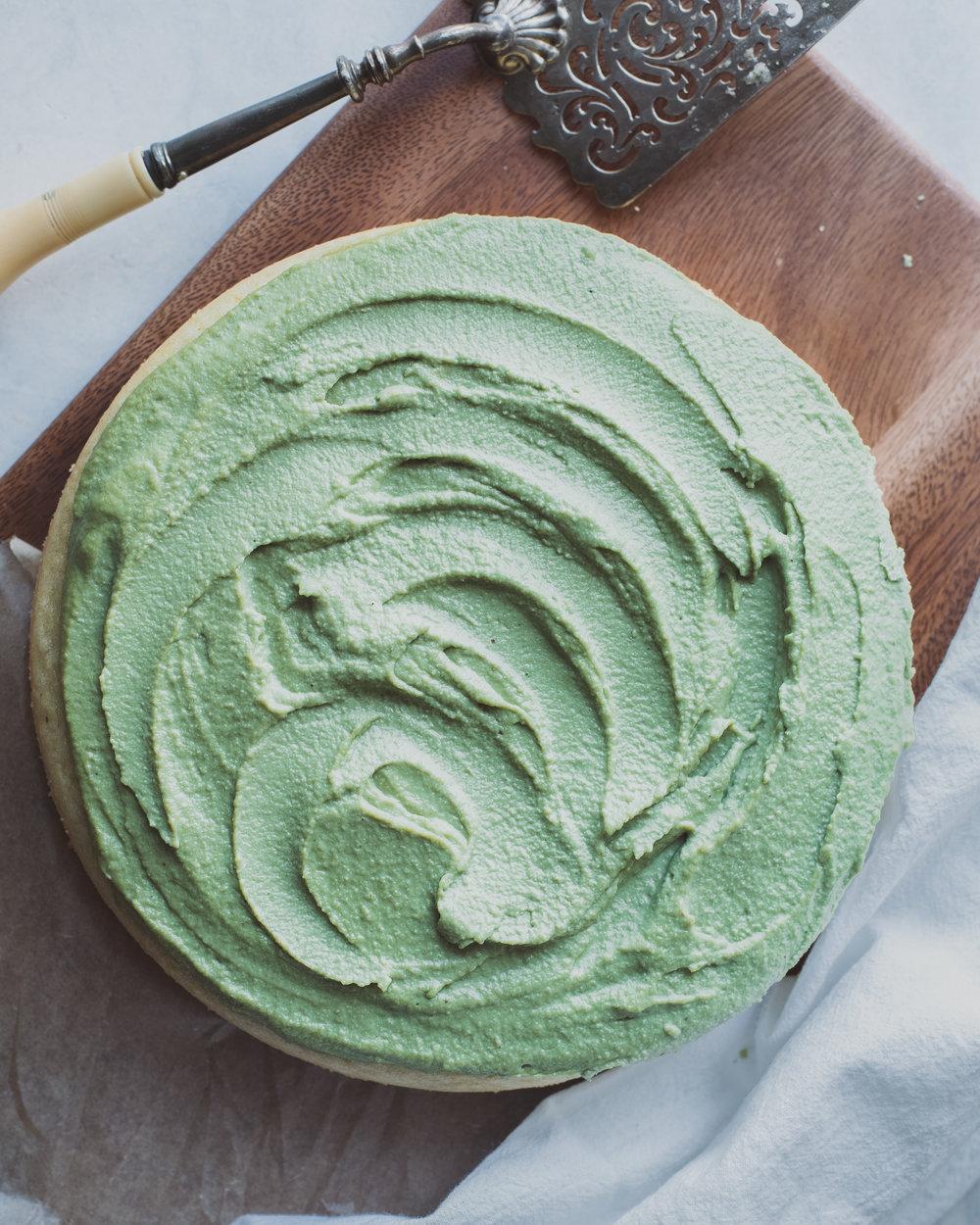 Lemon Cake with Matcha Frosting - V, GF