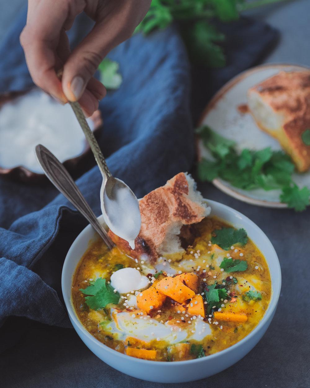 Red Lentil Sweet Potato Soup - V, GF