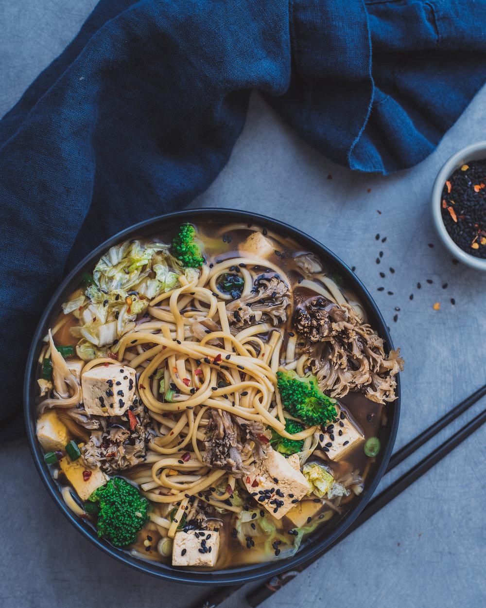 Mushroom Udon Noodle Soup - V