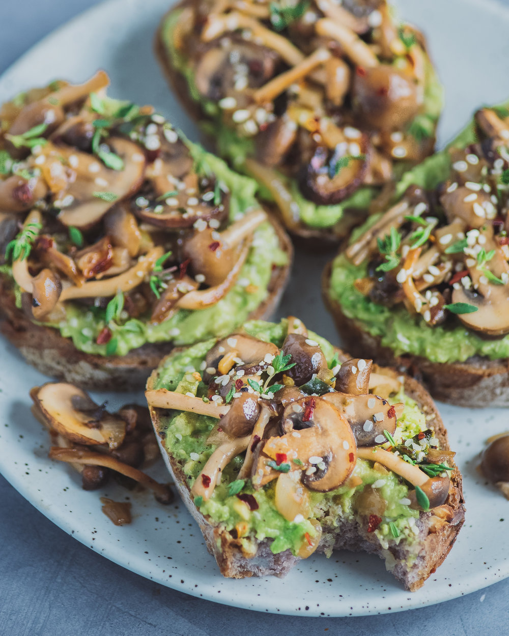 Mushroom avocado toast