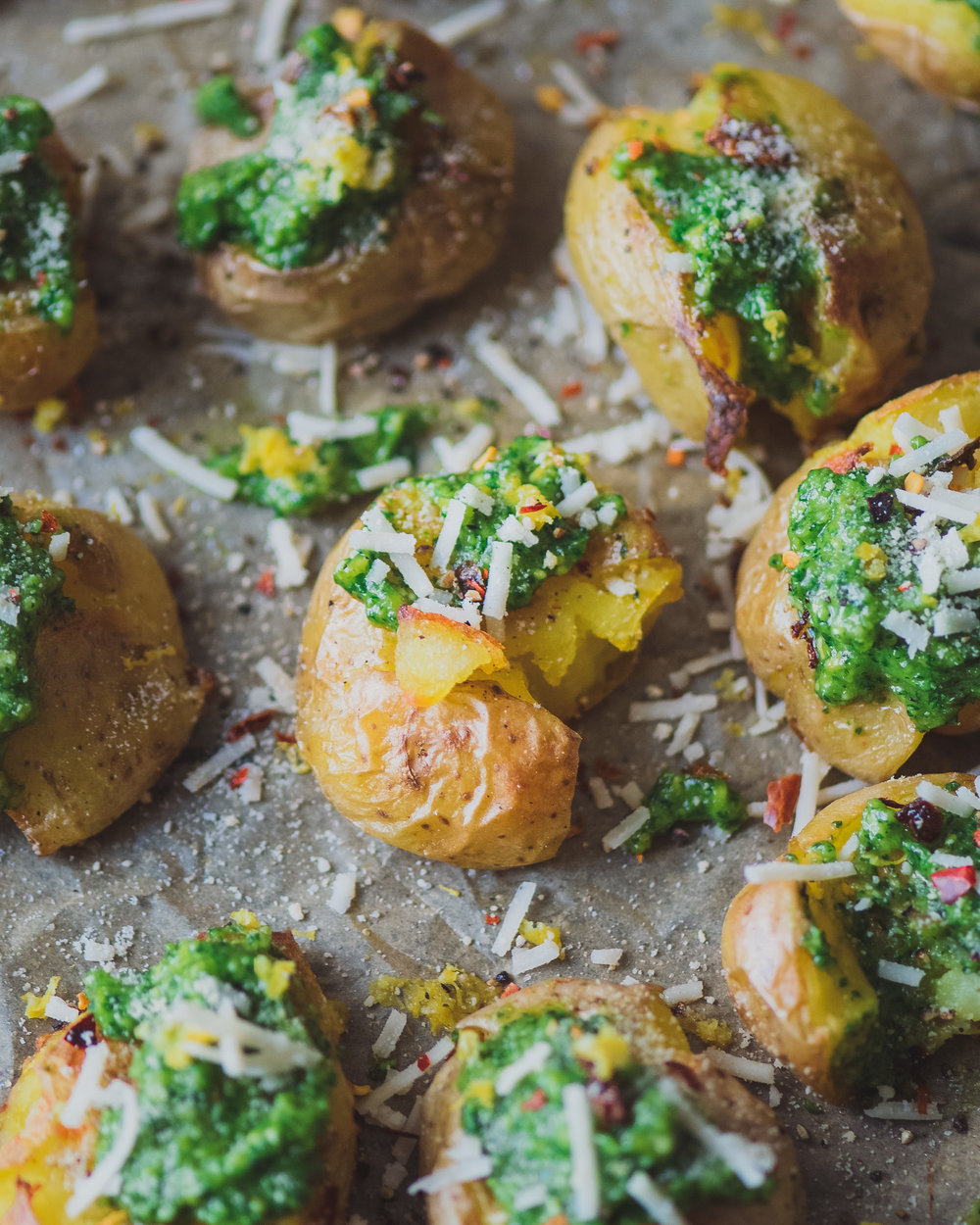 Crispy Smashed Potatoes with Cilantro Pesto