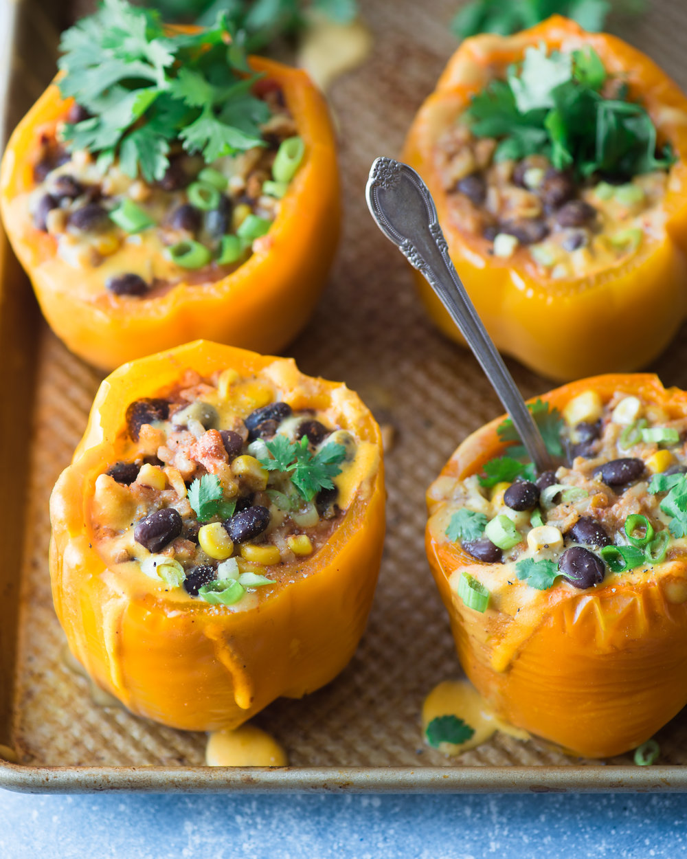 Instant Pot Burrito Bowl Stuffed Peppers - V, GF