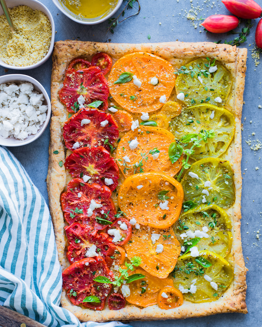 Cheesy Heirloom Tomato tart - V