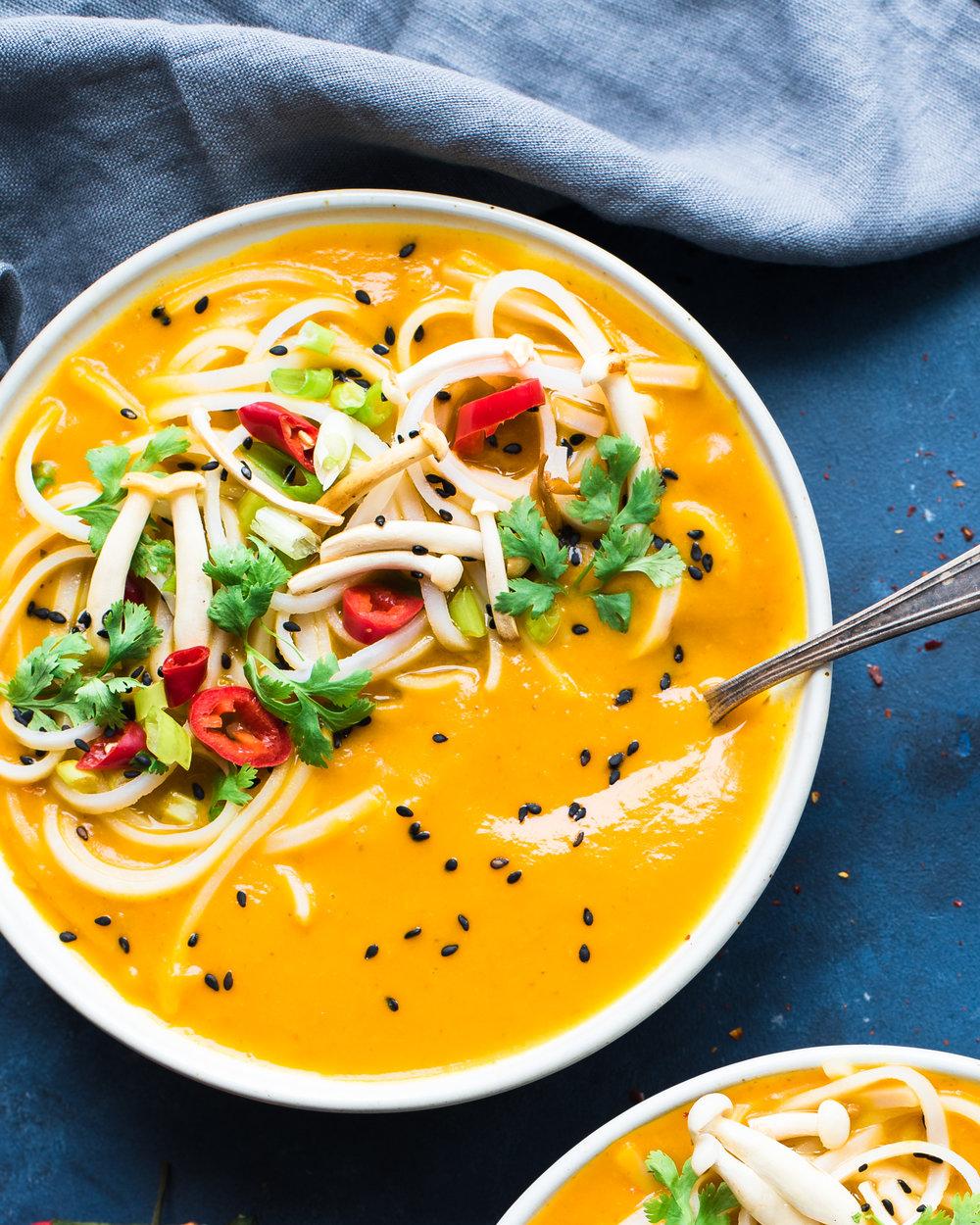 Instant Pot Red Curry Kuri Squash Soup (Vegan)