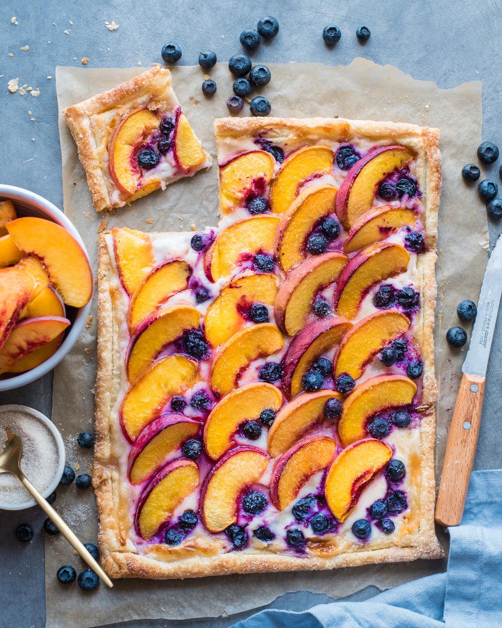 Peaches and Cream Puff Pastry Tart - V