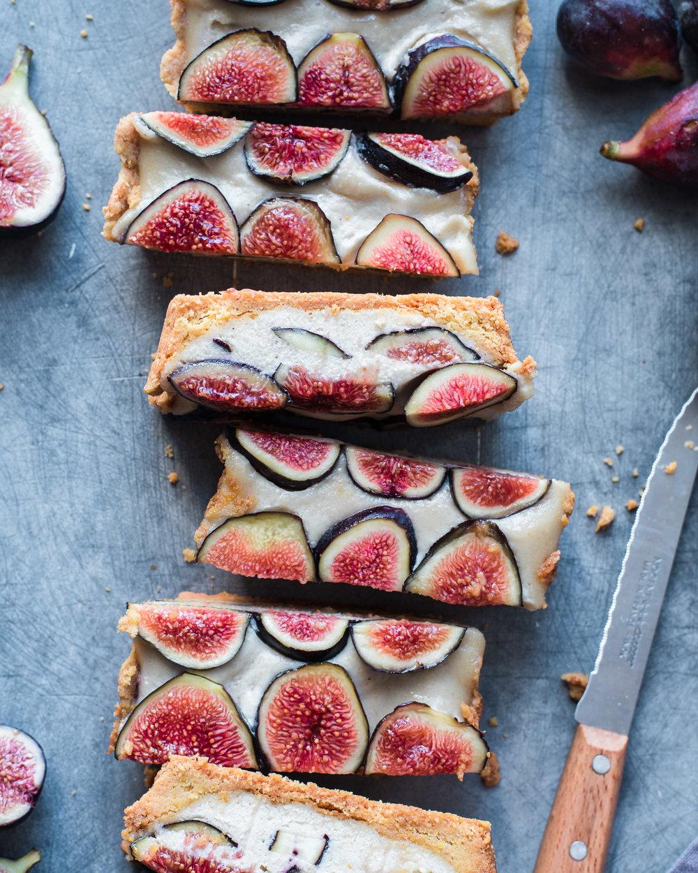 Fig Tart with Coconut-Cashew Cream - V, GF