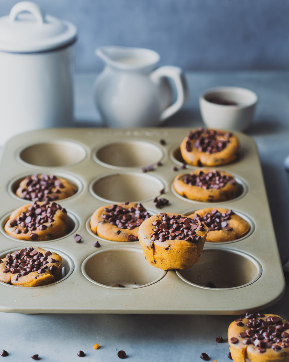 Vegan Pumpkin Tahini Chocolate Chip Muffins