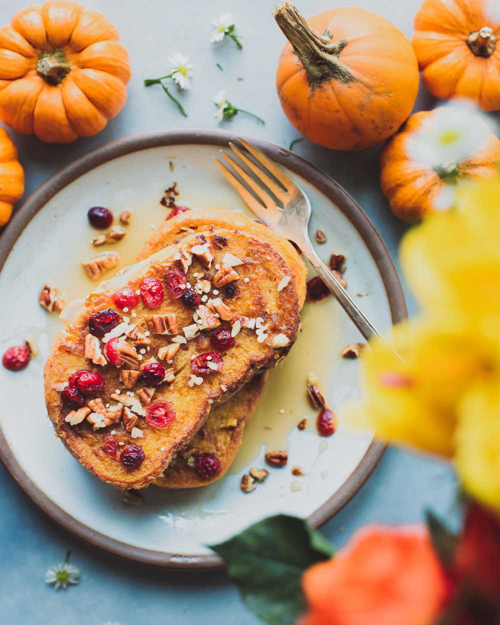 Pumpkin Stuffed French Toast - V