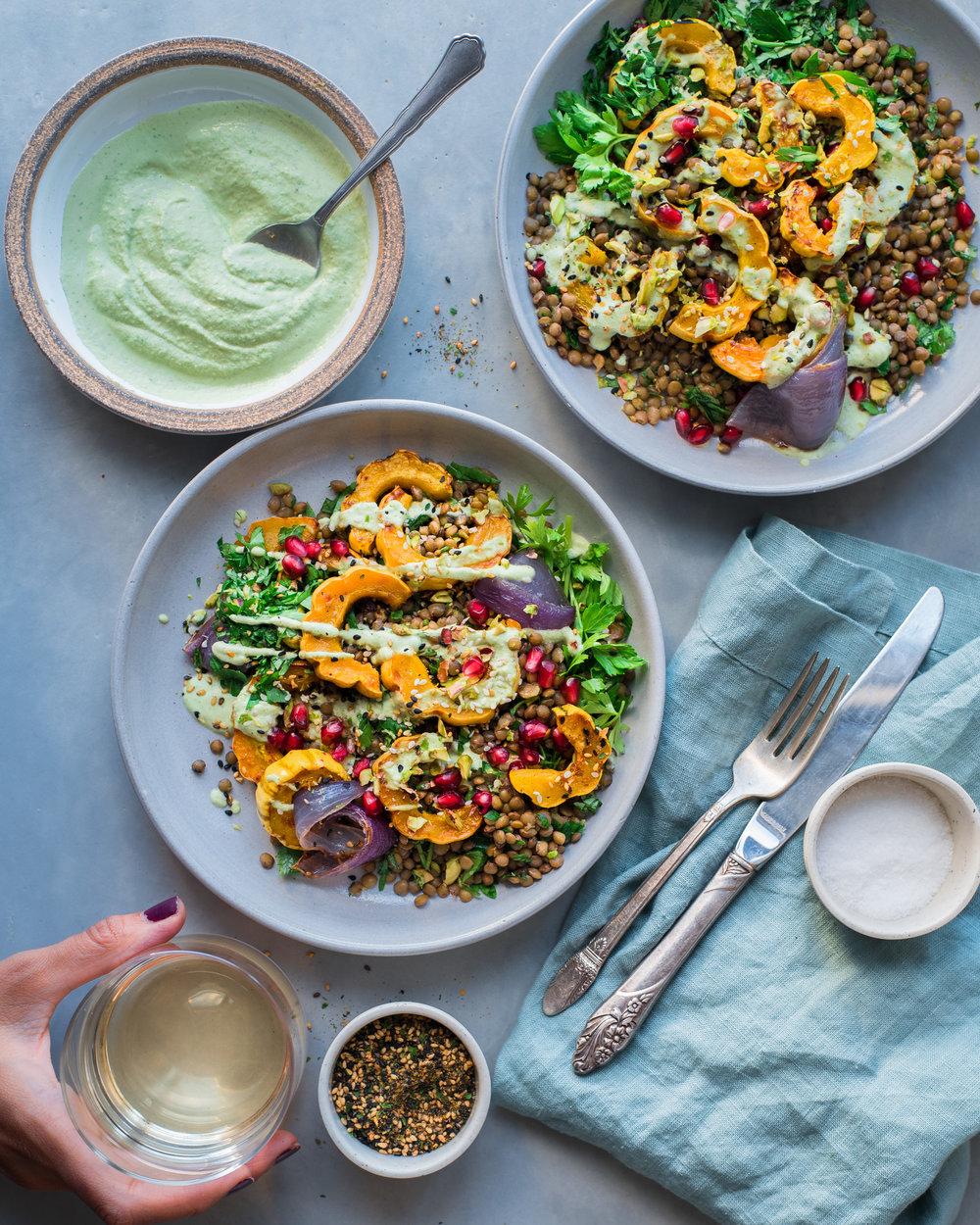 Warm Lentil Salad with Delicata Squash and Cilantro Cashew Cream