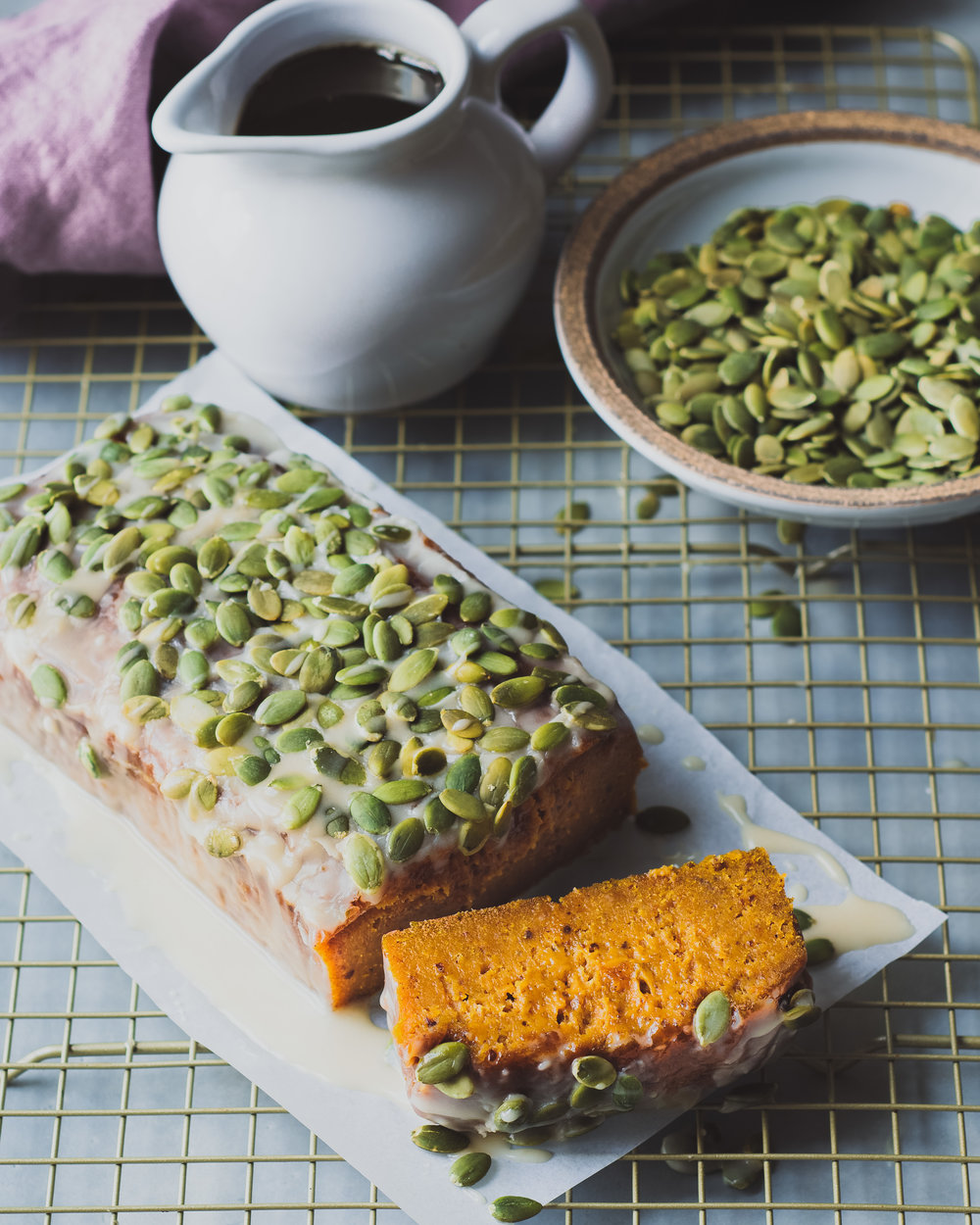 Pumpkin Bread with Maple Tahini Icing - V