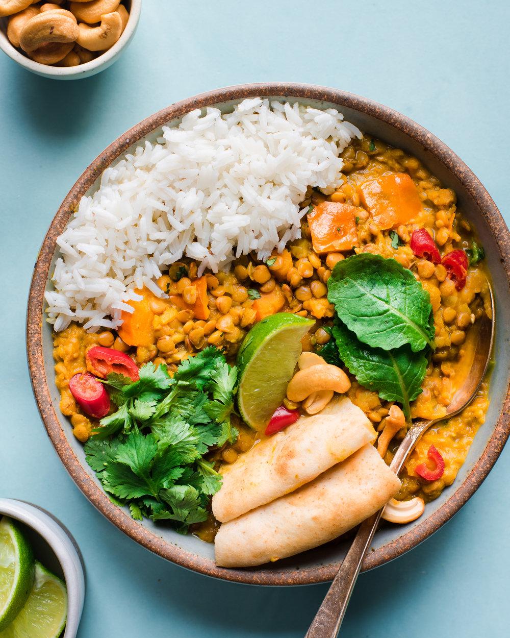 Instant Pot Butternut Squash Lentil Curry - V, GF