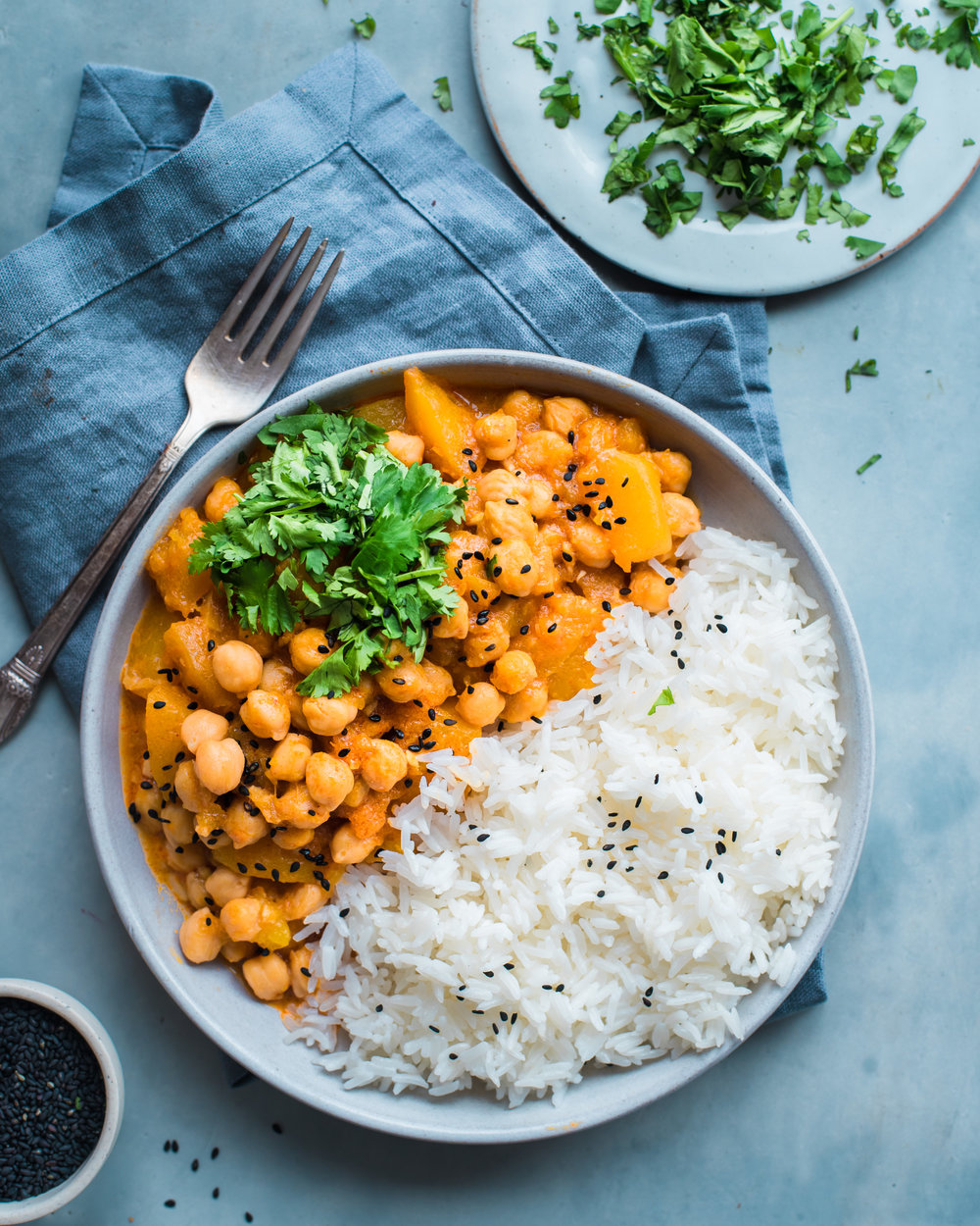 Instant Pot Pumpkin Chickpea Curry - V, GF