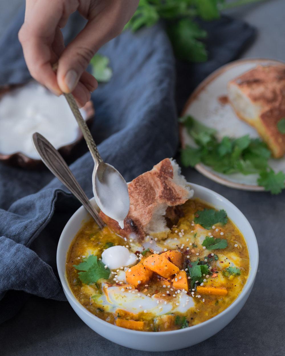 Instant Pot Red Lentil Sweet Potato Soup - V, GF, P