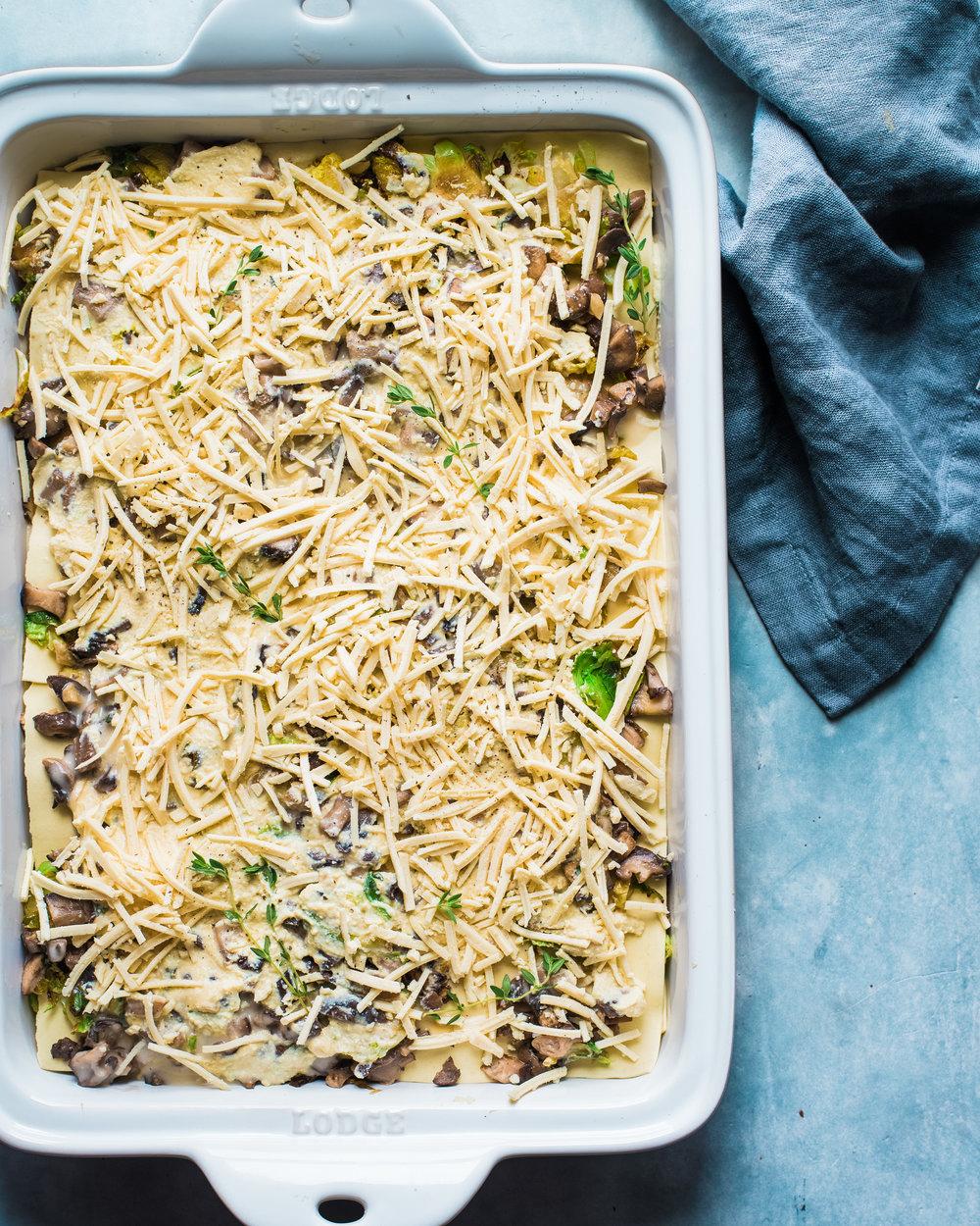 Vegan Brussels Sprouts and Mushroom Lasagna