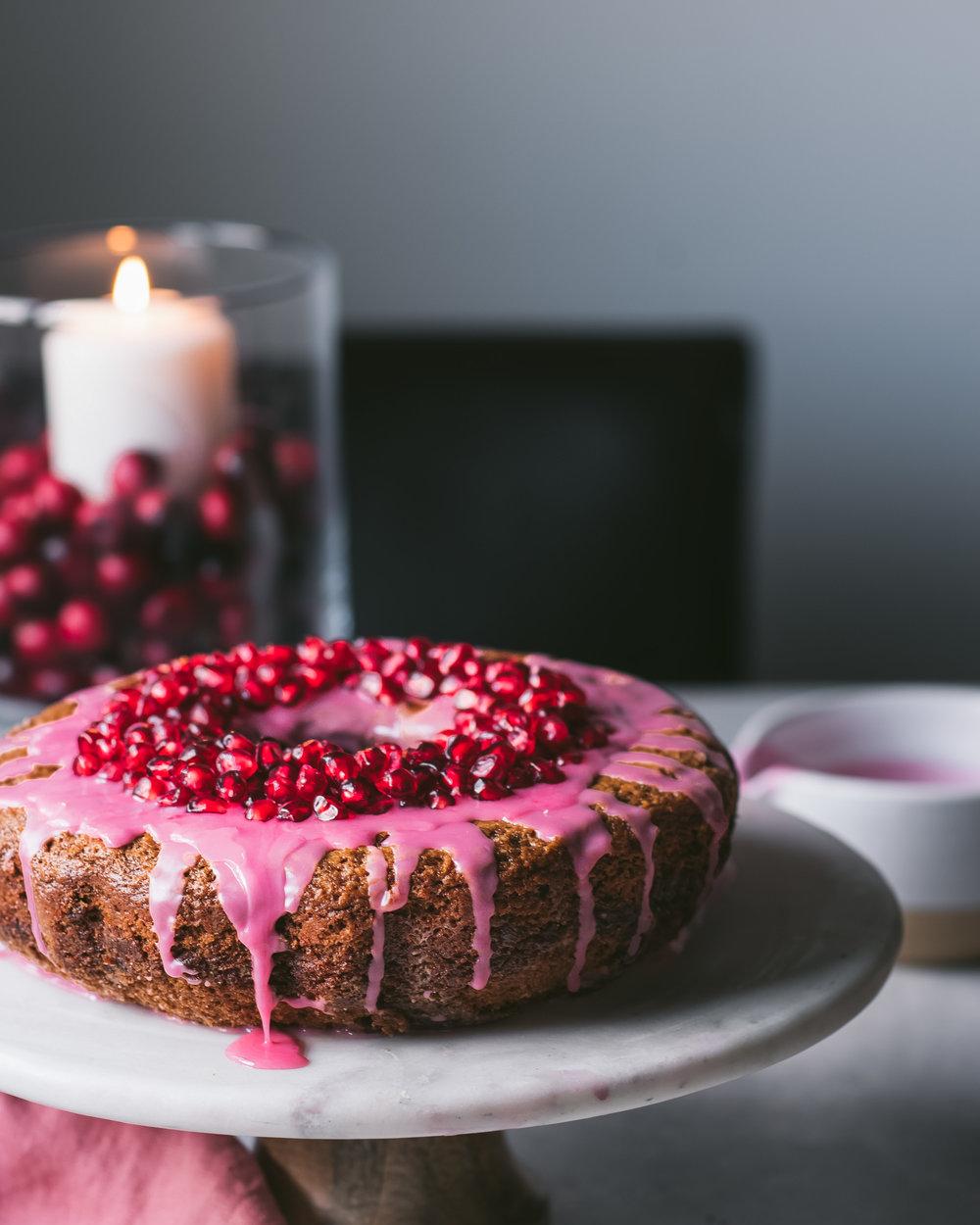 Pomegranate Glazed Gingerbread Bundt Cake - V