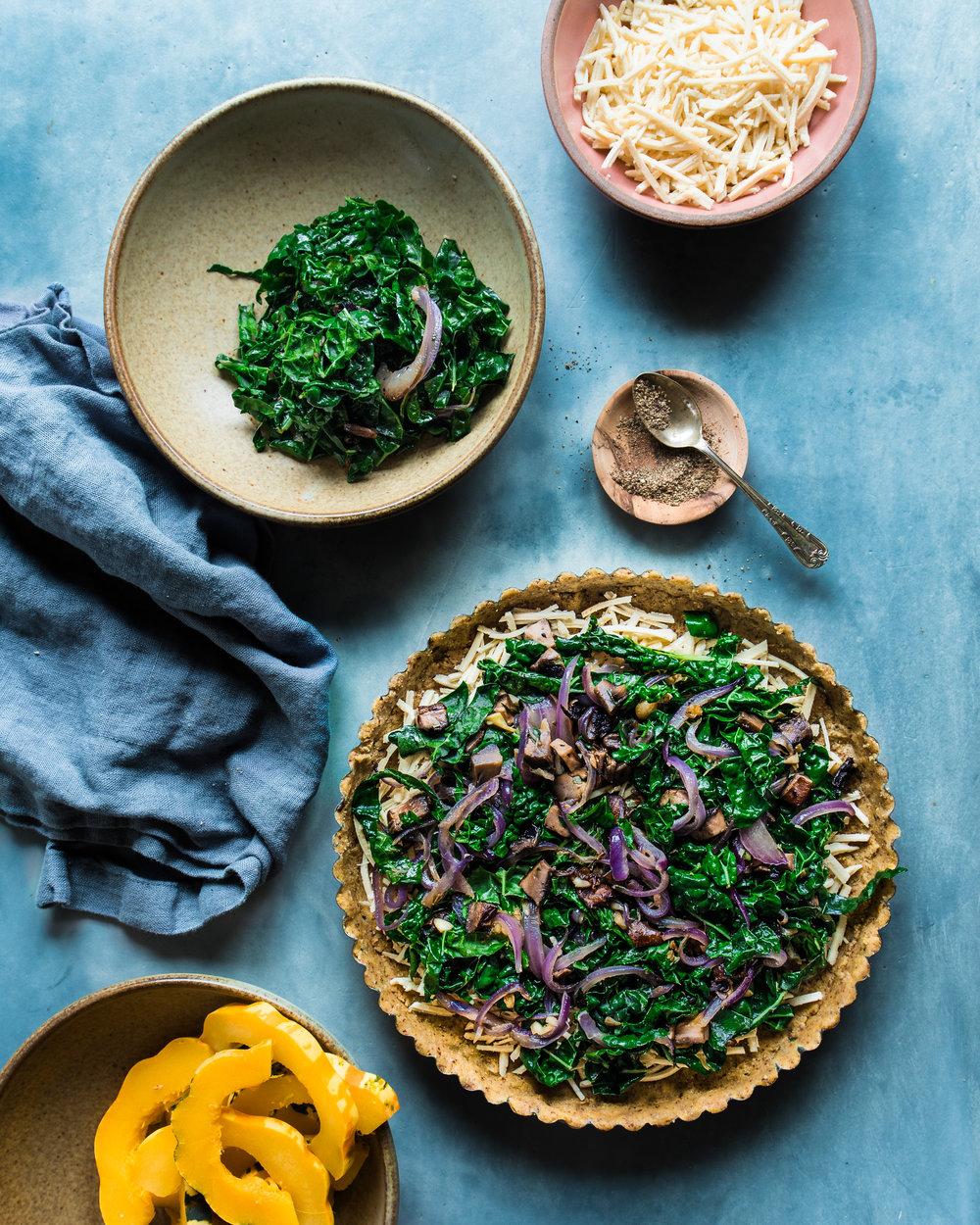 Cheesy Kale and Winter Squash Tart (Vegan, Gluten-Free)