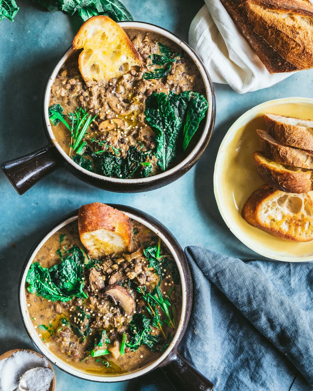 Creamy Mushroom and Black Beluga Lentil Stew - V, GF