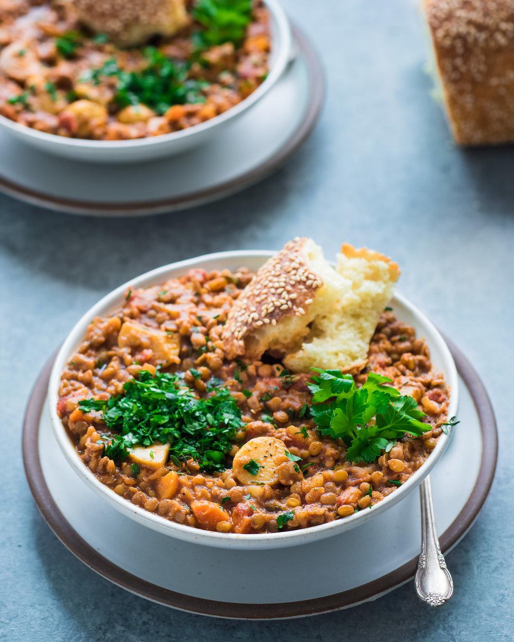 Instant Pot Lentil and Potato Stew - V, GF