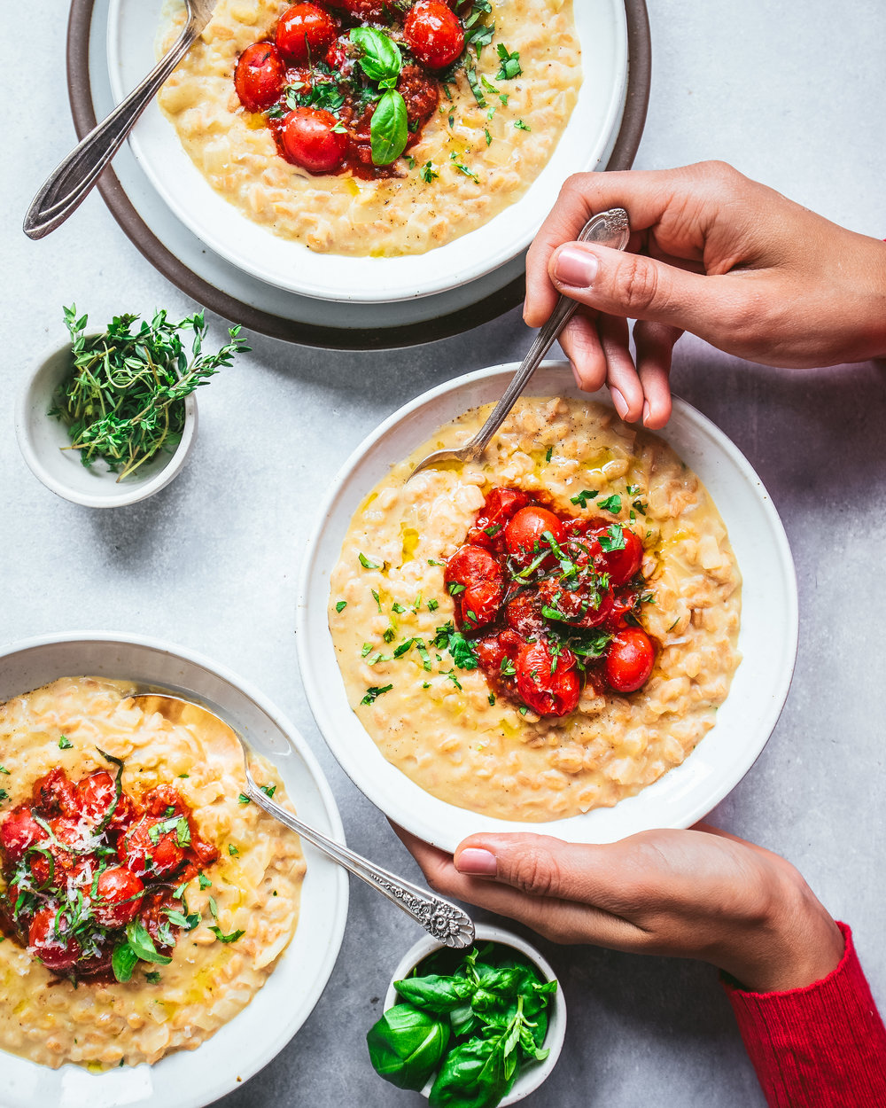 Instant Pot Vegan Farro Risotto with Saucy Cherry Tomatoes