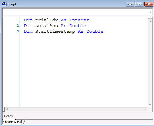 "Global variables are declared in the User tab of the Script window. The syntax is ""Dim"" followed by the variable name, followed by ""As [Datatype]"", where datatype can be a string, integer, or other type."