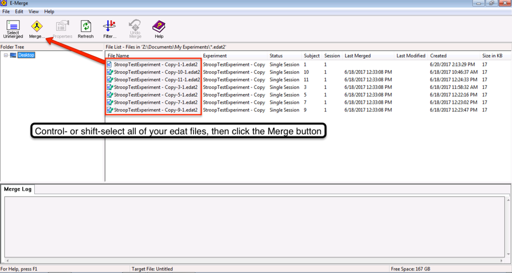 Using E-Merge to consolidate several edat files into one file.