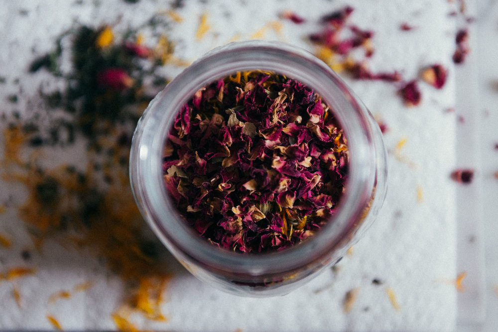 Rose and Calendula seen here as part of a trial infusion