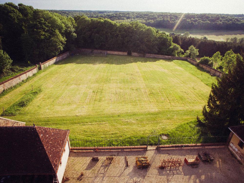 Aerial view of the garden before prep work began