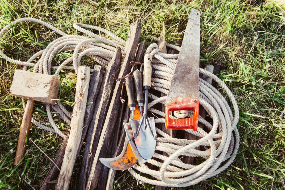 The line-up of farming tools