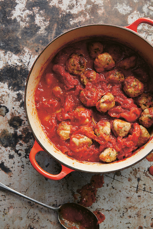 Turkey + Ricotta Meatballs from Small Victories by Julia Turshen, serves 8, or 4 with lots of leftovers (makes about 30 meatballs)