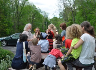HFFC's Paul Tobin holding court over High Meadow's second grade class, photo: Ilona Ross