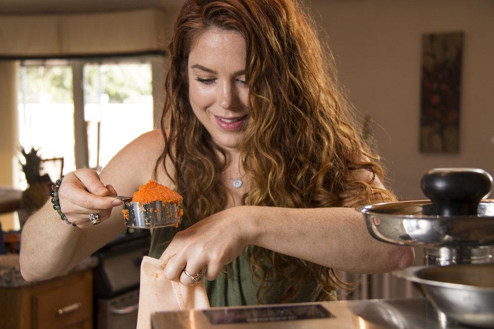amanda scooping carrots
