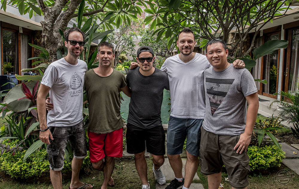 Dennis and Edwin with the Trance Retreat Instructors from the Bali 2017 Retreat (Left to Right, Mark Sixma, Sied van Riel, Protoculture, Dennis and Edwin)