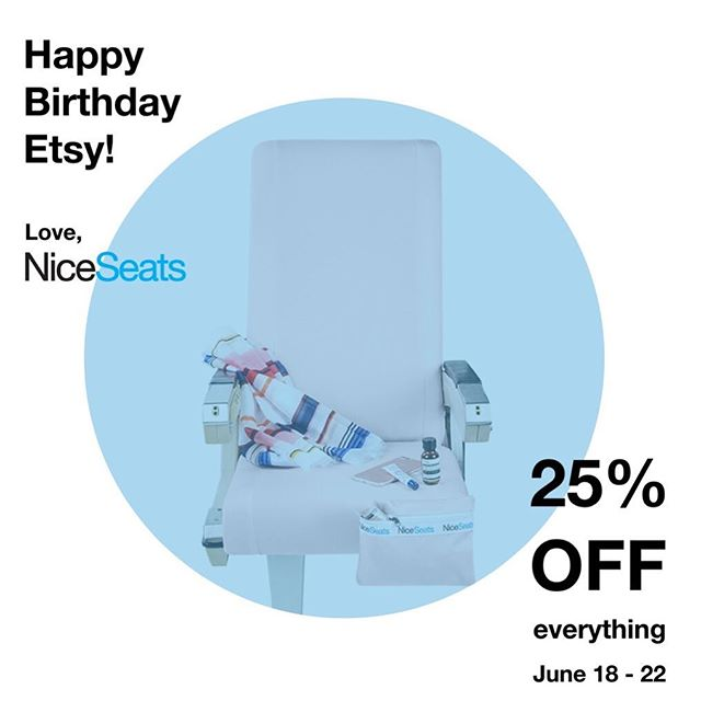 It's @etsy Birthday 🎂so we're on SALE! We at NiceSeats can not say enough about how much we love Etsy. What I love about them is how much they boost my SEO and thereby foster small business and artists like myself. So Happy Birthday Etsy!! Love, all of us at NiceSeats! . . . #happybirthday #etsy #indepentartist #travellikeaboss #frequestflyer #sitinstyle #niceseats #inflight #ontheplane #alwaysacleangetaway #airplaneseatcover #traveltips #travelbag #takemewithyou #letsgoeverywhere #keepitclean #itsinthebag #ownit #travelaccessories #travelaccessory  #travelsmart #businessclass #firstclass #traveldiaries #travelersnotebook #travelingram #traveler #travelgoals #travelblogger #sleepontheplane