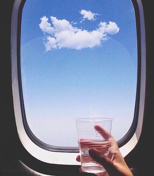 Staying hydrated is important but avoiding frequent trips to the bathroom is also a factor when traveling.  Aiming to drink 6 ounces of water per hour seems to make for the perfect balance. ☁️✈️ . . . . . #airtravel #airplanemode  #upinthesky #overtheclouds #abovetheclouds #planewindow #airtravel #airplanemode #stayhydrated #niceseats #alwaysacleangetaway