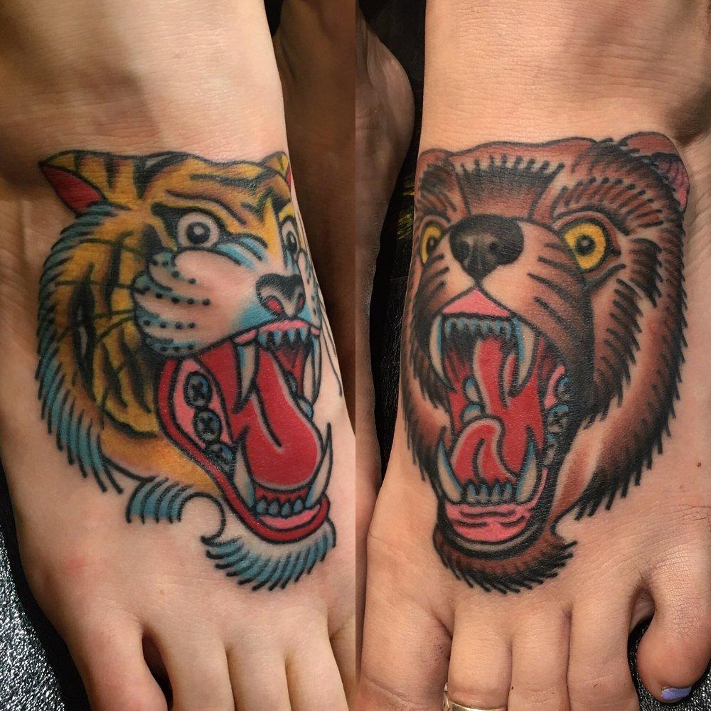 Tiger and bear feet