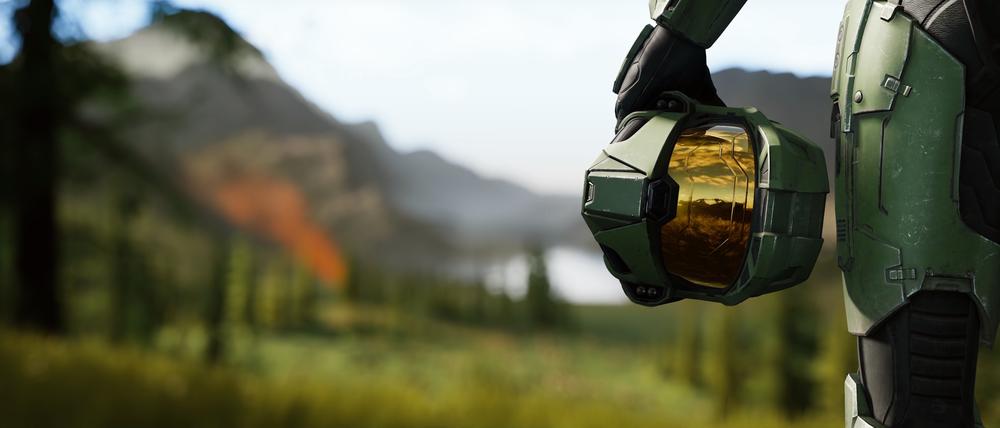 John-117 looking out over that Zeta Halo expanse, in all his classic art style glory.