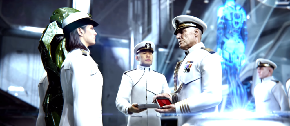 BATTLE OF GAMMA PAVONIS VII - Miranda Keyes, accepting a medal for her father, Captain Jacob Keyes, awarded posthumously for his actions on Installation 04. October 20th, 2552.
